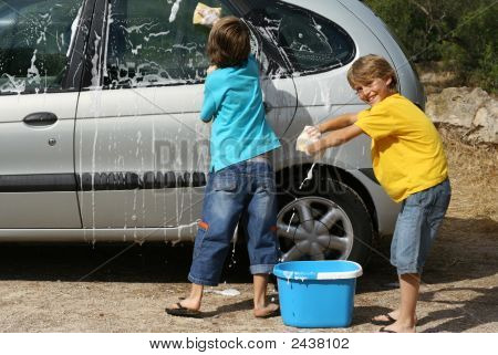 Children Helping Washing Car