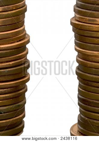 Two Stacks Of Coins With Copy Space Between Them