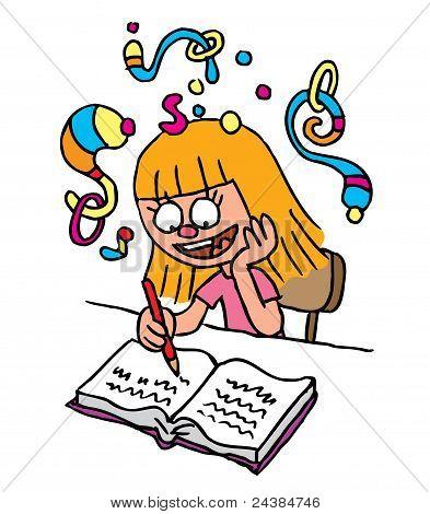 School Girl homework imagination