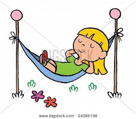 little girl relaxing in a hammock
