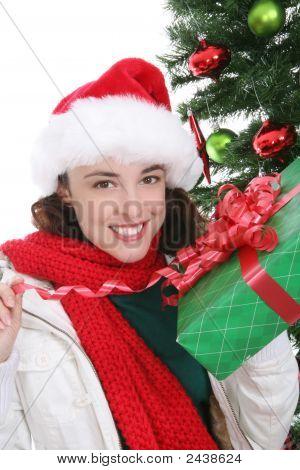 hübsche Frau zu Weihnachten