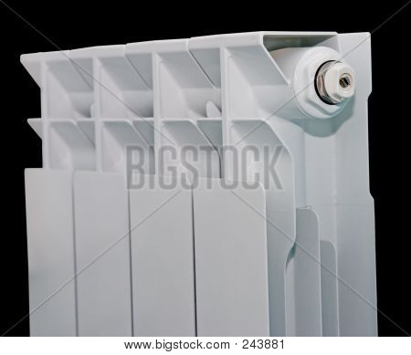 White Radiator On Black Background With Clipping Path