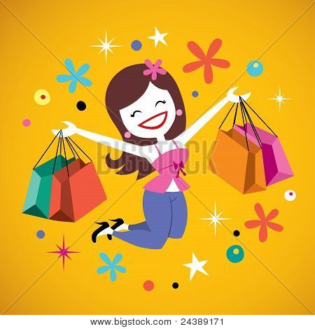 happy girl shopping