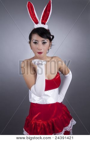 Sexy Woman In Christmas  Costume