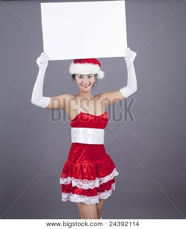 Woman Holding A Blank Christmas Sign