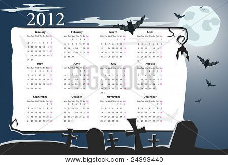 Vector European Halloween calendar 2012 with cemetery, full moon and bats (starting from Mondays)