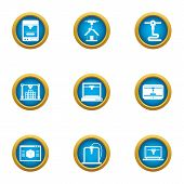 Land Development Icons Set. Flat Set Of 9 Land Development Vector Icons For Web Isolated On White Ba poster