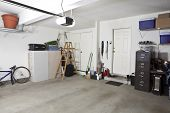 Clean swept interior suburban garage.