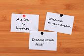 aspire To Inspire. welcome To Your Dream. dreams Come True!  Note Pin On The Bulletin Board. poster