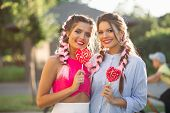 Pretty Girlfriends With Colorful Braids Holding Candy Heart On Stick Like Heart And Happy Smiling At poster