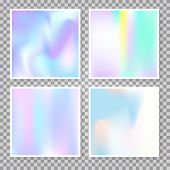 Gradient Set With Holographic Mesh. Futuristic Abstract Gradient Set Backdrops. 90s, 80s Retro Style poster