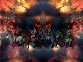 stock photo of antichrist  - The Four Horsemen of the Apocalypse in the sky - JPG