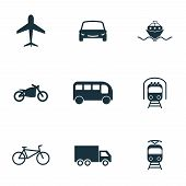 Постер, плакат: Set Vector City Transport Icons Collection In Flat Design City Transport Vihecles Auto For Web De