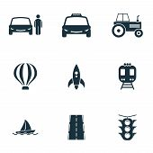 Постер, плакат: Set Vector Transport Icons Collection In Flat Design City Transport Vihecles Auto Air Baloon Ro