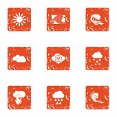 Global Climate Warming Icons Set. Grunge Set Of 9 Global Climate Warming Vector Icons For Web Isolat poster