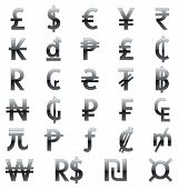 stock photo of shekel  - Set of currency symbols of the world - JPG