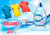 Laundry Detergent Ad. Plastic Bottle  And Colorful Shirts On Rope. Design Template. Vector poster