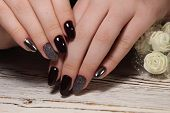 Closeup Of Woman Hands With Nail Design. Trendy Crackle Nail Polish. Manicure And Nail Tattoo Trend. poster