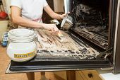 Person Applying Mixed Baking Soda Onto Surface Of Oven poster