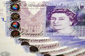 image of british pound sterling note  - Queen Elizabeth on a Twenty (20) Pounds Banknotes collage