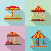 Carousel Carnival Horse Icons Set. Flat Illustration Of 4 Carousel Carnival Horse Vector Icons For W poster