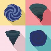 Hurricane Storm Tornado Damage Icons Set. Flat Illustration Of 4 Hurricane Storm Tornado Damage Vect poster