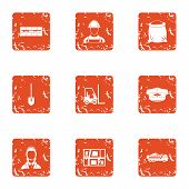 Purchase Of Material Icons Set. Grunge Set Of 9 Purchase Of Material Vector Icons For Web Isolated O poster