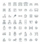 Hotel Services Vector Outline Icons Set. Simple Linear Pictograms. Isolated On White. Thin Line Symb poster