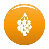 Bunch Grape Icon. Simple Illustration Of Bunch Grape Vector Icon For Any Design Orange poster