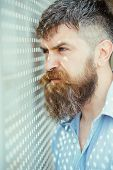 Bearded Man Look In Perforated Holes. Man With Long Beard And Mustache On Unshaven Face. Fashion Hip poster