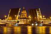 St. Isaac Cathedral In The Alignment Of The Blessed Annunciation Bridge In The May Night. Russia, Sa poster