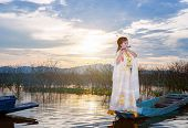 Chinese Girl Is Playing The Traditional Chinese Musical Instrument On The Boats In The  Lake ;chines poster