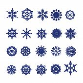 Big Set Of Snowflakes. Christmas Card With Snowflakes On White      Background.beautiful Snowflakes  poster