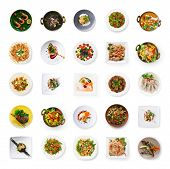 Set Of Various Restaurant Meals Isolated On White Background. Collage Of Different Main Courses And  poster