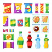Vending Products. Snacks, Chips, Sandwich And Drinks For Vendor Machine Bar. Cold Beverages And Snac poster