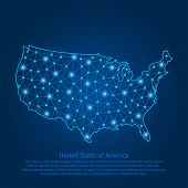 Abstract Map Of The Usa Created From Lines, Bright Points And Polygons In The Form Of Starry Sky, Sp poster