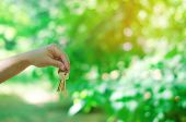 Keys In Hand In Park Outdoors. Concept Of Real Estate. Sale And Purchase Of An Apartment, Housing In poster
