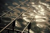Rods, Lines On Blurred Water Surface, Fishing Equipment. Tackles For Angling In River, Lake, Pond, F poster