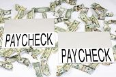 pic of paycheck  - Two large paper rectangles with the word paycheck on each surrounded by crumpled dollars of different denominations - JPG