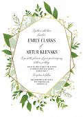 Wedding Invitation, Floral Invite Save The Date Modern Card Design: Greenery Leaves, Forest Greenery poster