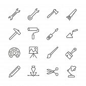 Work Tools Set Icon Vector. Outline Handmade Tools Collection. Trendy Flat Instrument Sign Design. T poster