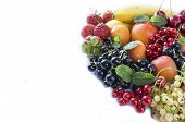 Mix Fruits Berries On White Background. Ripe Black, Red, White Currants, Strawberries And Apricots.  poster