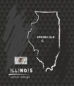 Map Of Illinois, Chalk Sketch Vector Illustration poster