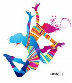 stock photo of rap-girl  - Two dancing girls with colorful spots and splashes on white background - JPG