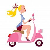 stock photo of vespa  - beautiful sexy blonde girl riding vespa scooter - JPG