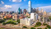 Dallas, Texas, USA downtown skyline from above. poster