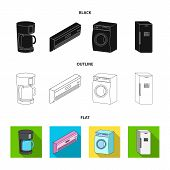 Home Appliances And Equipment Black, Flat, Outline Icons In Set Collection For Design.modern Househo poster