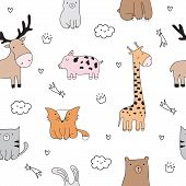 Vector Seamless Pattern. Cartoon Sketch Illustration With Cute Doodle Animals. poster