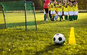 Soccer Football Training For Young Boys. Training Session On The Grass Soccer Field. Soccer Ball And poster