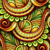 Colored Seamless Pattern With Ethnic Motifs. Endless Texture With Abstract Design Element. Khokhloma poster